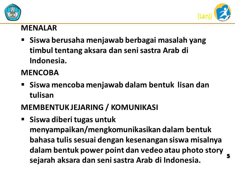 MENALAR Siswa berusaha menjawab berbagai masalah yang timbul tentang aksara dan seni sastra Arab di Indonesia.