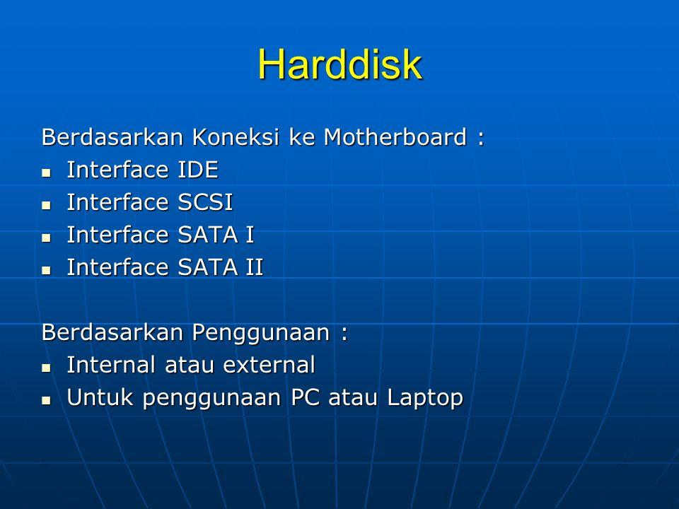 Harddisk Berdasarkan Koneksi ke Motherboard : Interface IDE