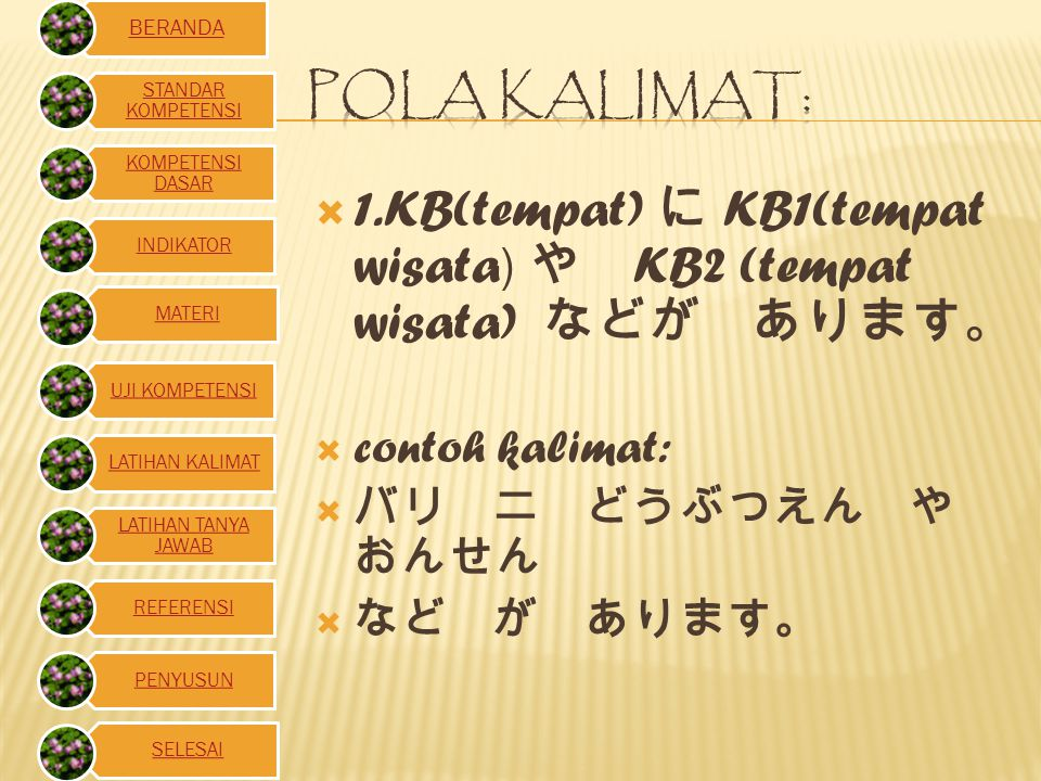1.KB(tempat) に KB1(tempat wisata) や KB2 (tempat wisata) などが あります。
