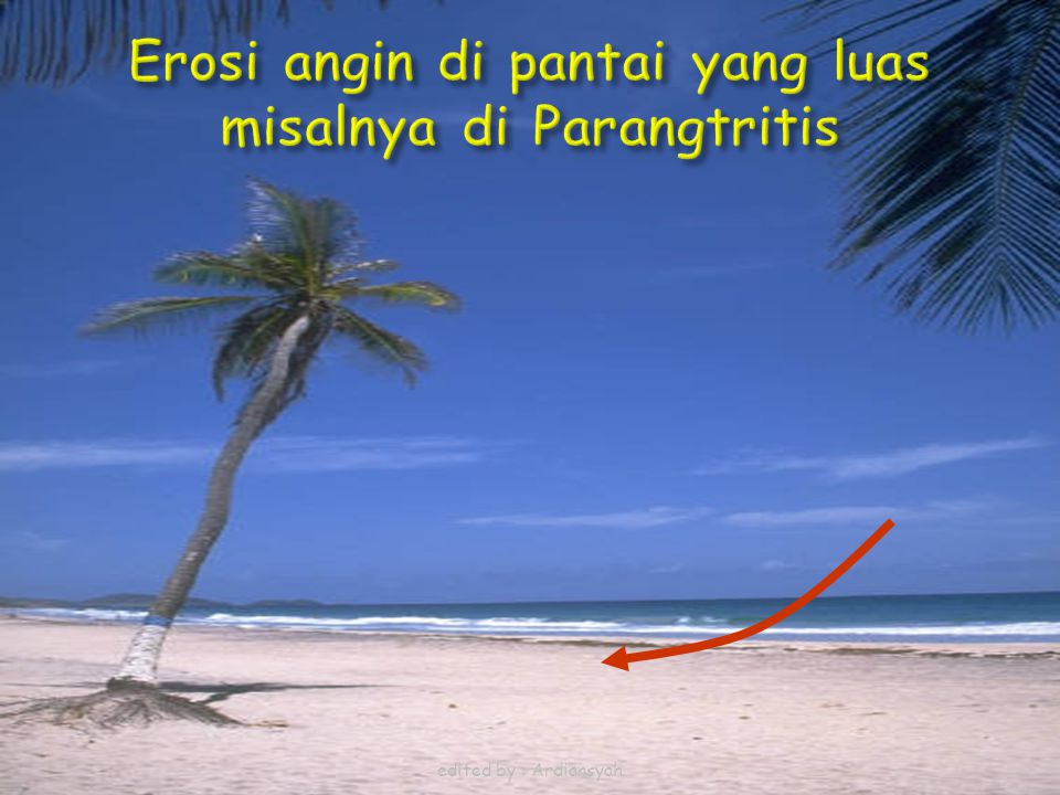 Erosi angin di pantai yang luas misalnya di Parangtritis