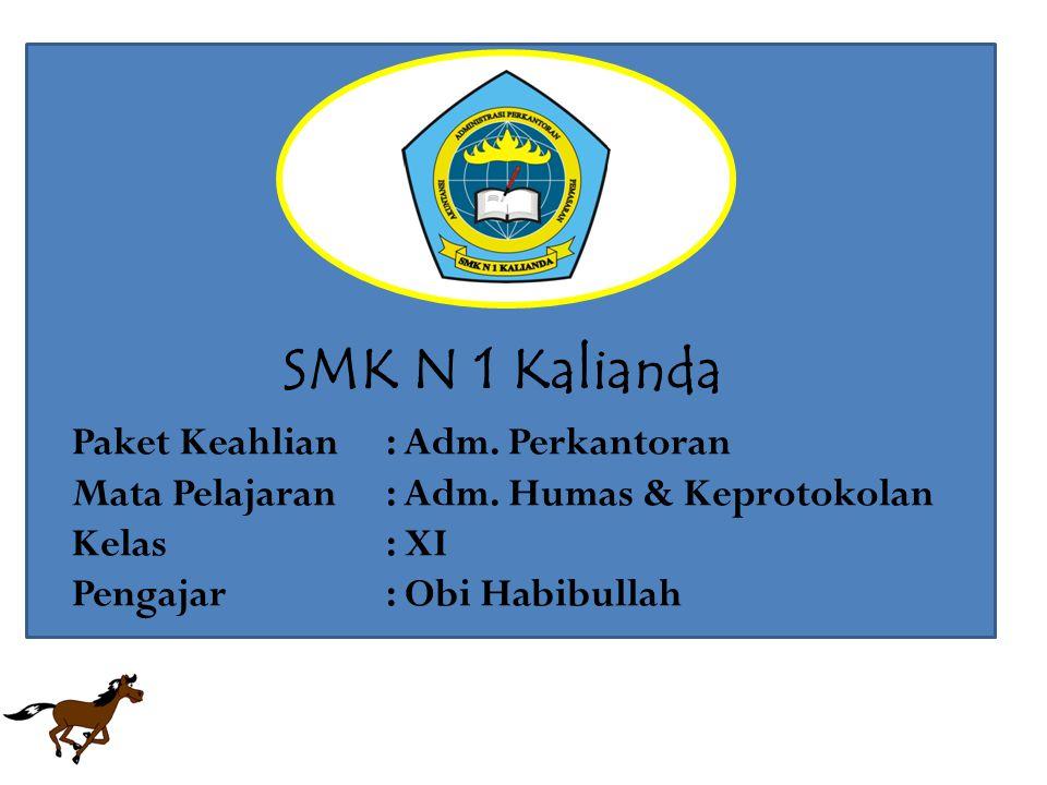 SMK N 1 Kalianda Paket Keahlian : Adm. Perkantoran Mata Pelajaran : Adm.
