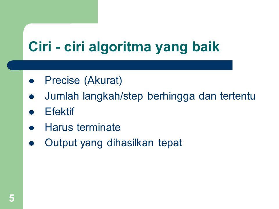 Ciri - ciri algoritma yang baik