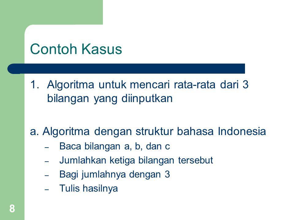 Contoh Kasus 1. Algoritma untuk mencari rata-rata dari 3 bilangan yang diinputkan. a. Algoritma dengan struktur bahasa Indonesia.