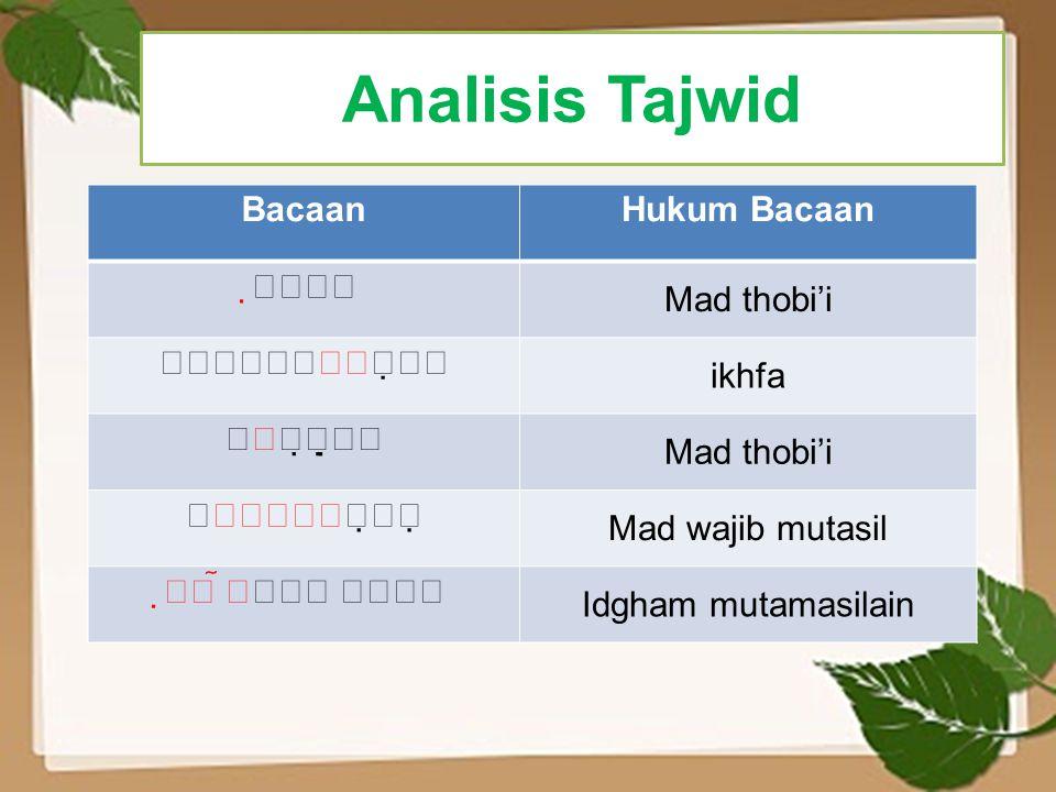 Analisis Tajwid Bacaan Hukum Bacaan  Mad thobi'i 