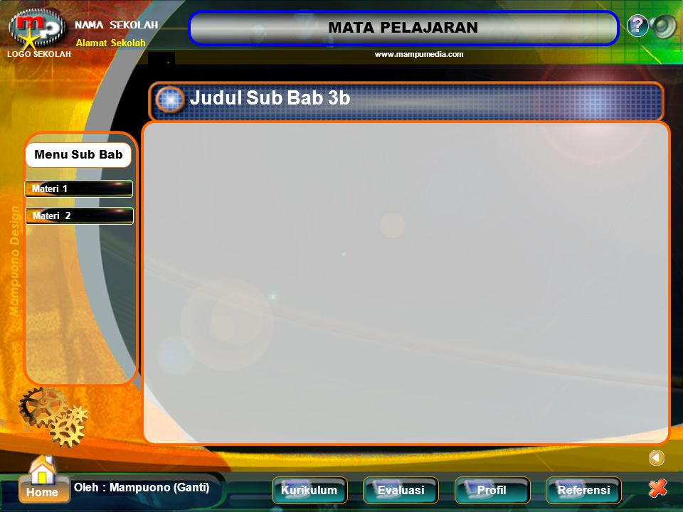 Judul Sub Bab 3b Menu Sub Bab Materi 1 Materi 2
