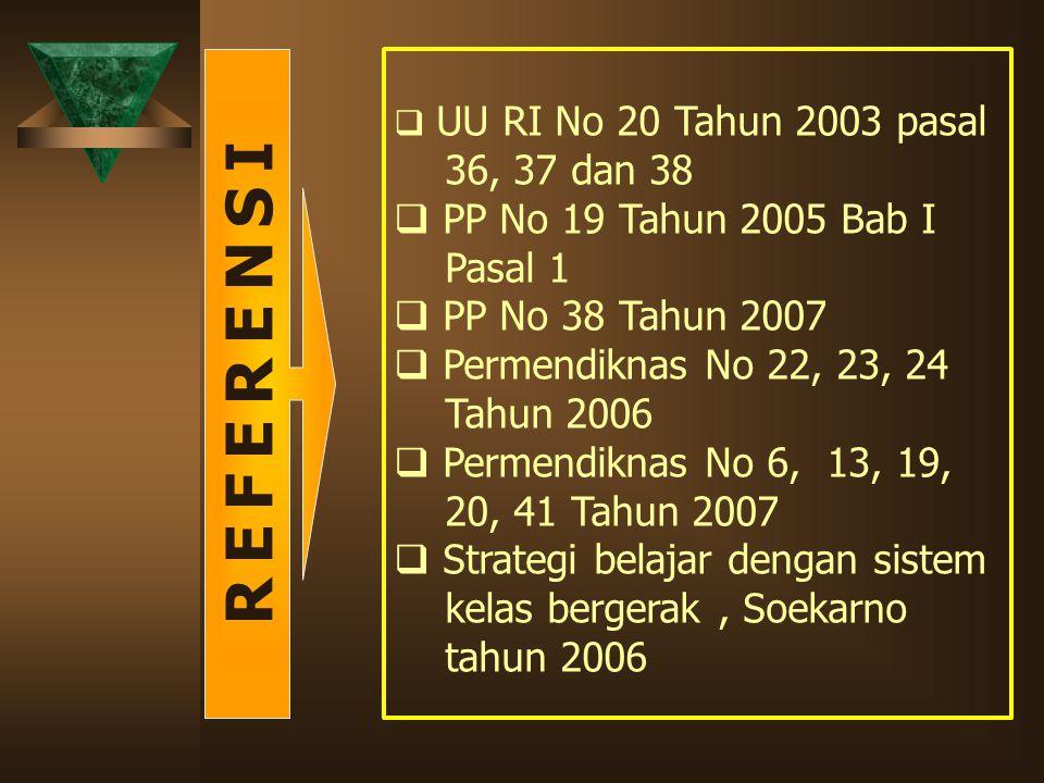 R E F E R E N S I 36, 37 dan 38 PP No 19 Tahun 2005 Bab I Pasal 1