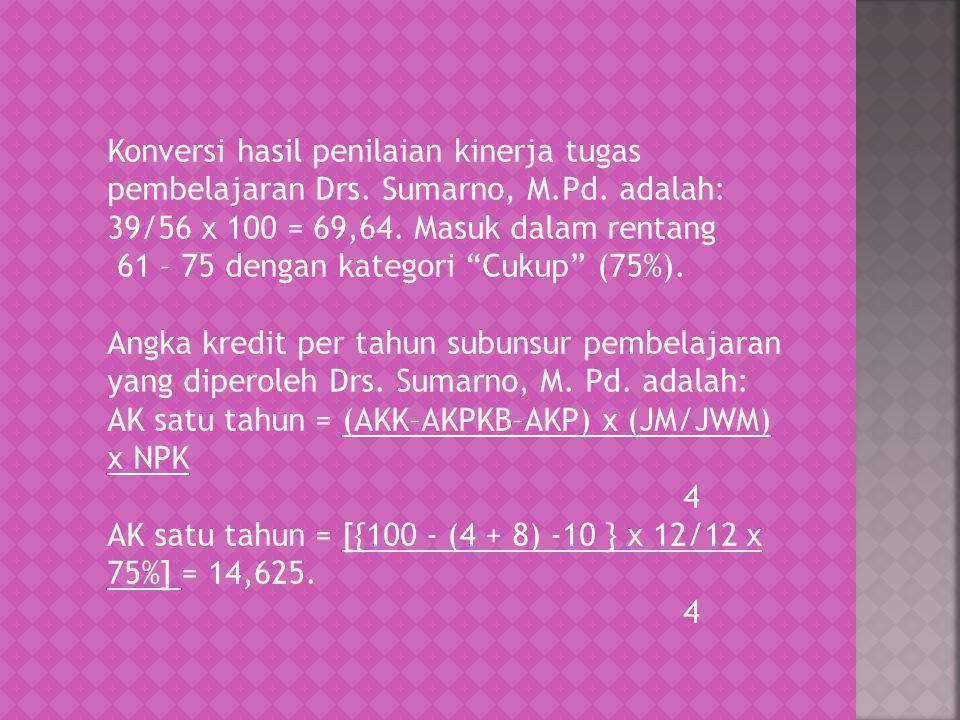 Konversi hasil penilaian kinerja tugas pembelajaran Drs. Sumarno, M.Pd. adalah: 39/56 x 100 = 69,64. Masuk dalam rentang