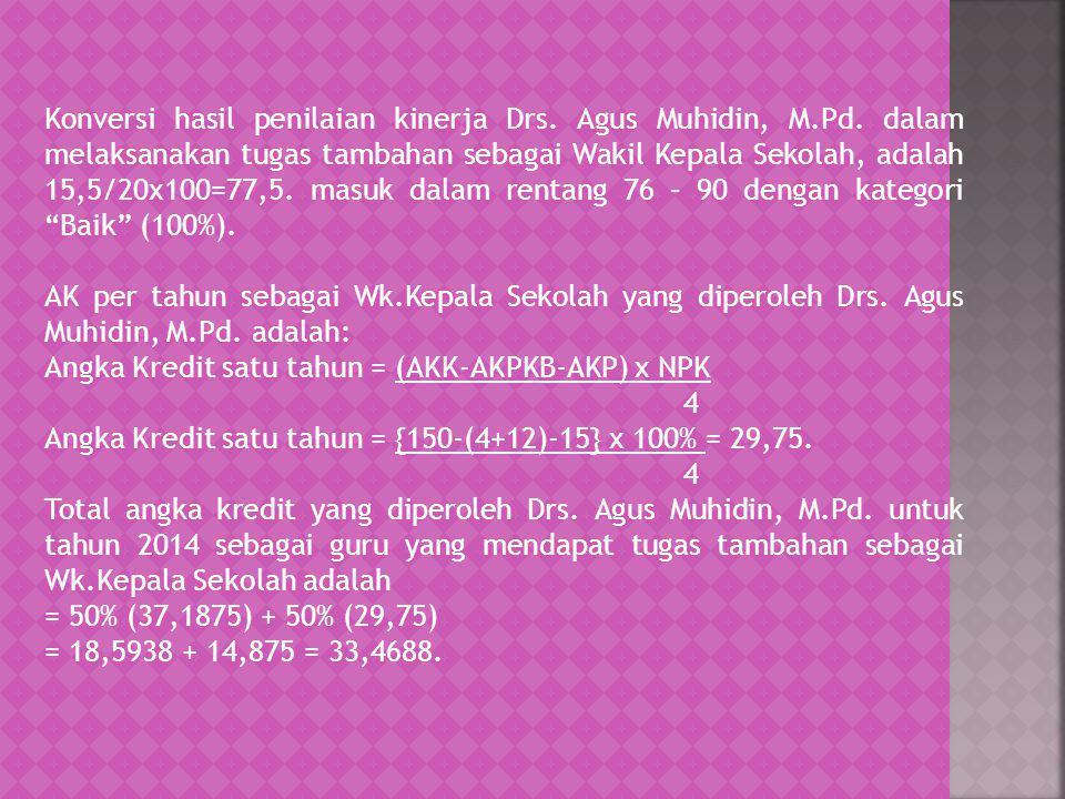 Konversi hasil penilaian kinerja Drs. Agus Muhidin, M. Pd