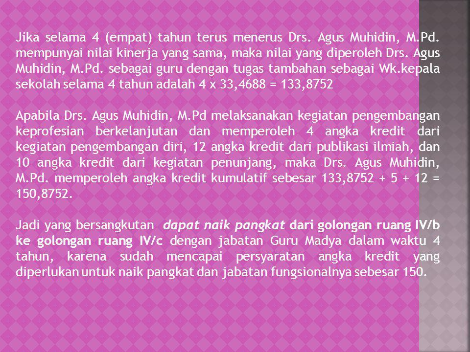 Jika selama 4 (empat) tahun terus menerus Drs. Agus Muhidin, M. Pd
