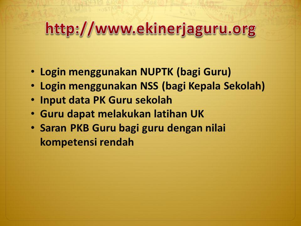 http://www.ekinerjaguru.org Login menggunakan NUPTK (bagi Guru)