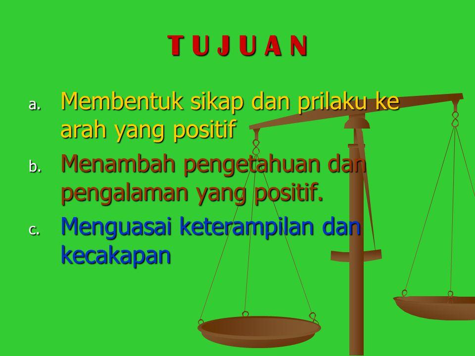 T U J U A N Membentuk sikap dan prilaku ke arah yang positif