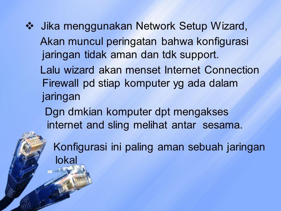 Jika menggunakan Network Setup Wizard,