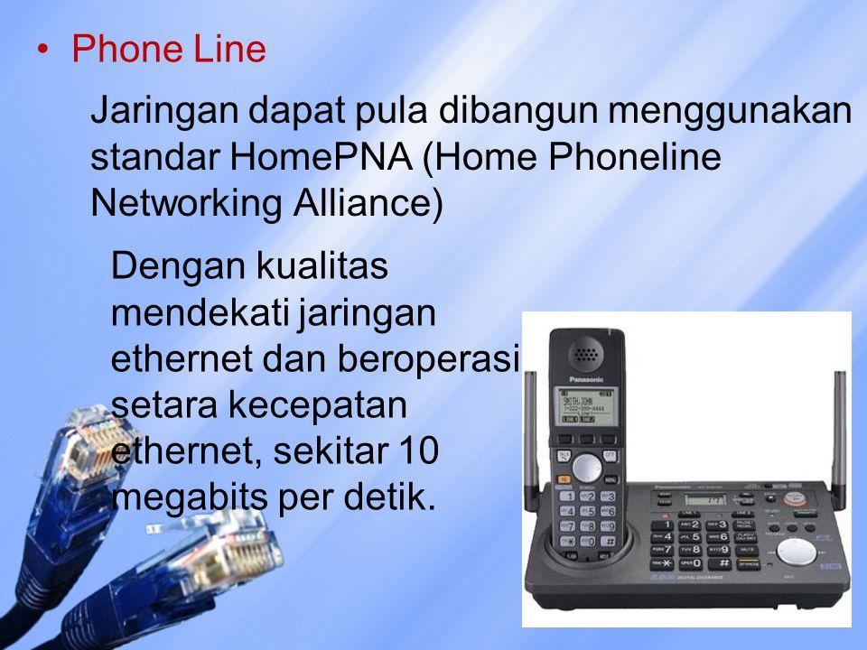 Phone Line Jaringan dapat pula dibangun menggunakan standar HomePNA (Home Phoneline Networking Alliance)