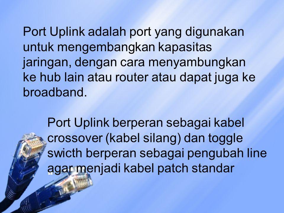 Port Uplink adalah port yang digunakan untuk mengembangkan kapasitas jaringan, dengan cara menyambungkan ke hub lain atau router atau dapat juga ke broadband.
