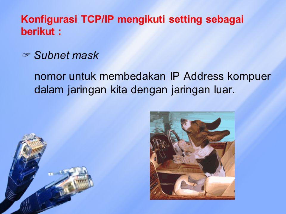 Konfigurasi TCP/IP mengikuti setting sebagai berikut :