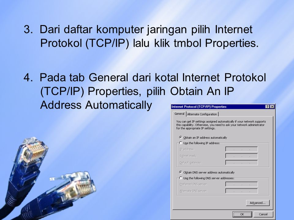 3. Dari daftar komputer jaringan pilih Internet Protokol (TCP/IP) lalu klik tmbol Properties.