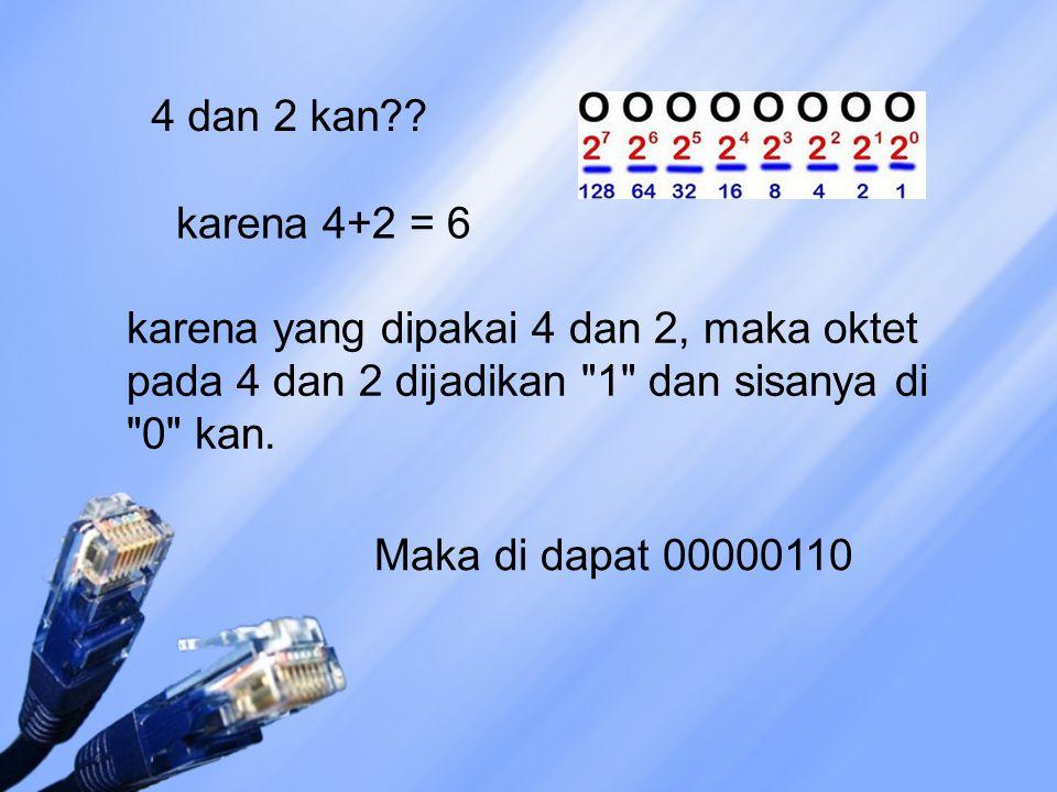 4 dan 2 kan karena 4+2 = 6. karena yang dipakai 4 dan 2, maka oktet pada 4 dan 2 dijadikan 1 dan sisanya di 0 kan.
