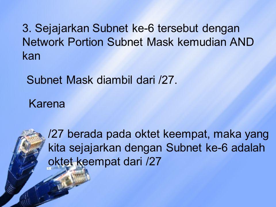 3. Sejajarkan Subnet ke-6 tersebut dengan Network Portion Subnet Mask kemudian AND kan