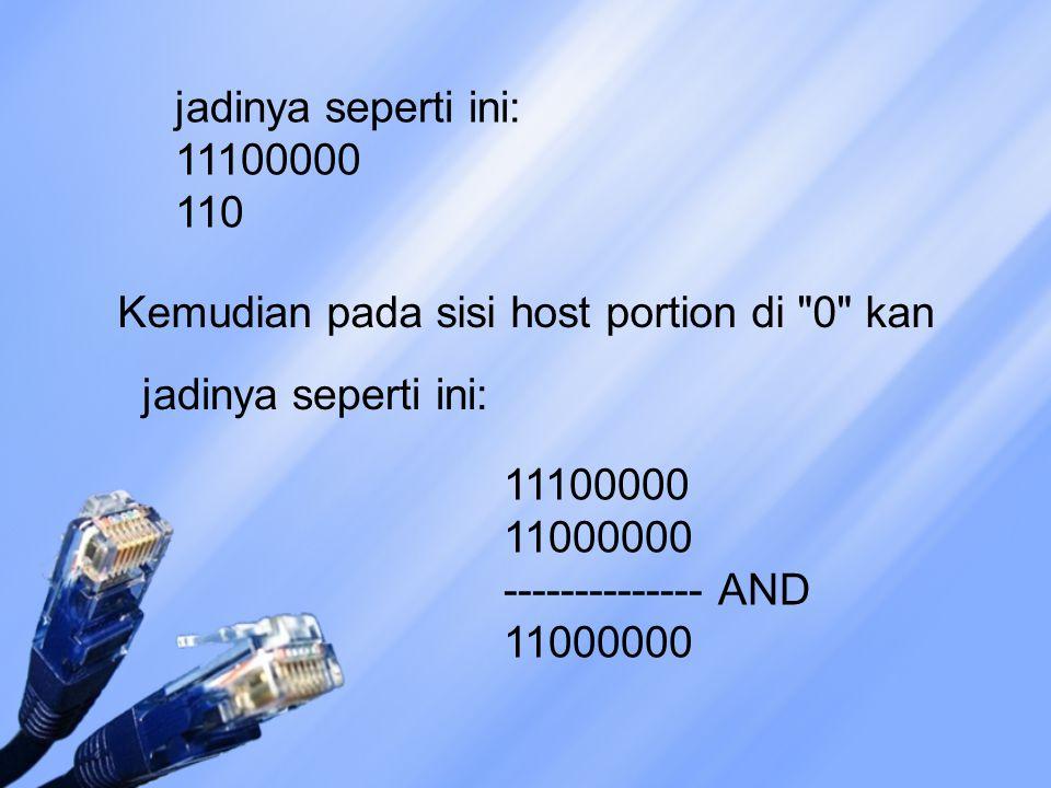 jadinya seperti ini: 11100000 110 Kemudian pada sisi host portion di 0 kan. jadinya seperti ini: