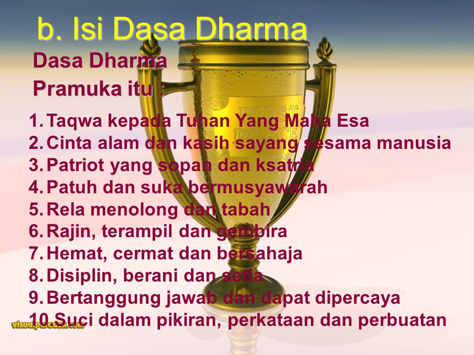 Dasa Dharma Pramuka itu :