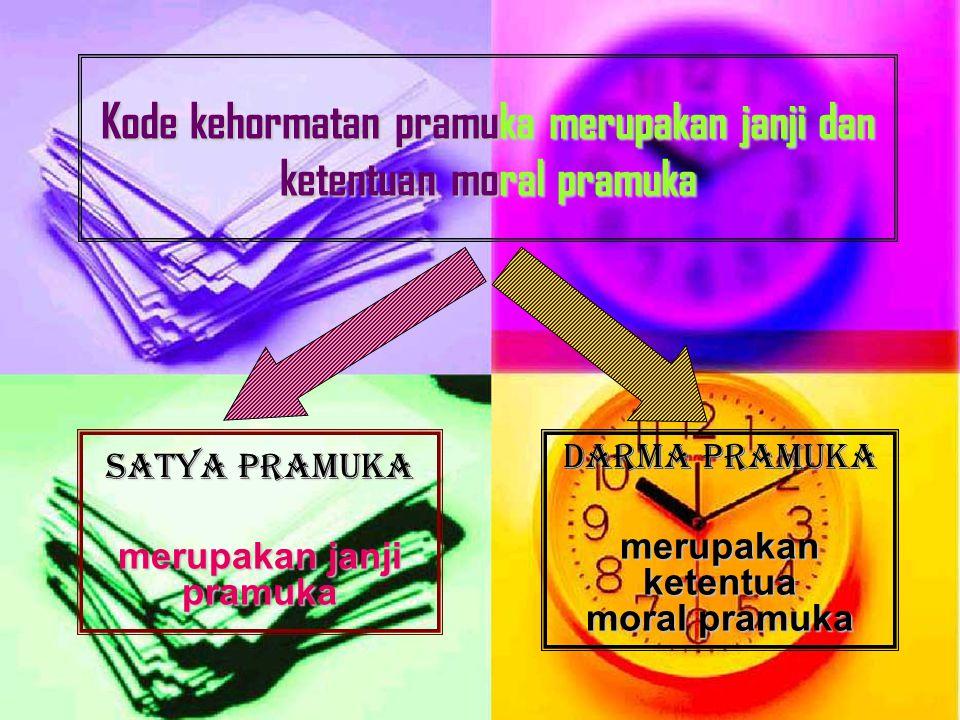 Kode kehormatan pramuka merupakan janji dan ketentuan moral pramuka