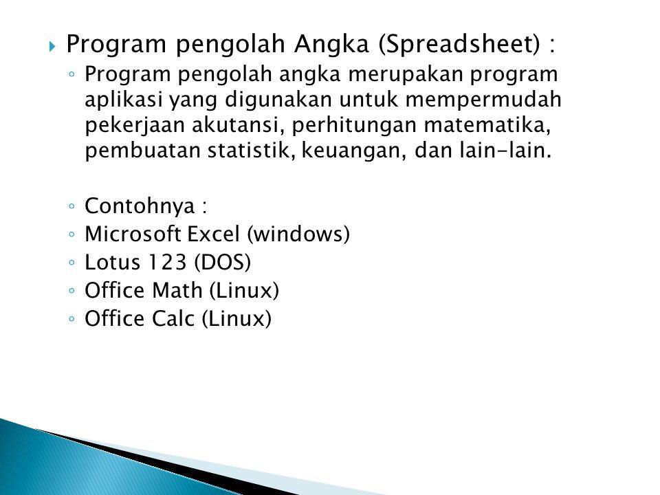 Program pengolah Angka (Spreadsheet) :