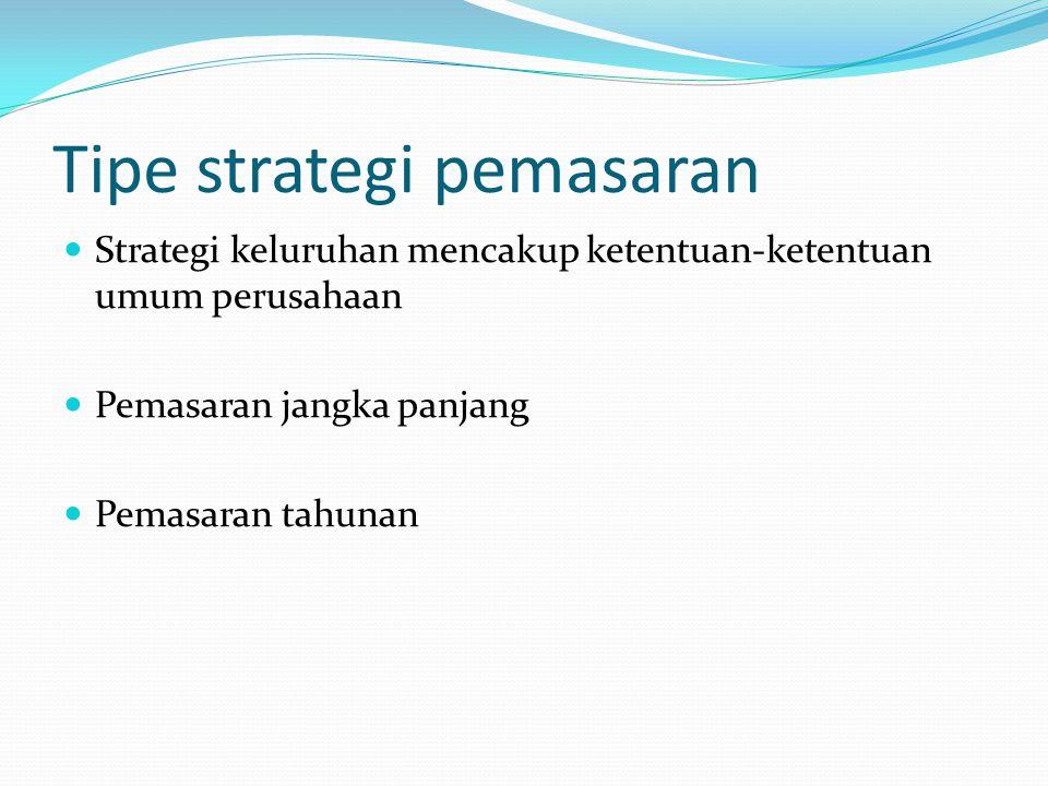 Tipe strategi pemasaran