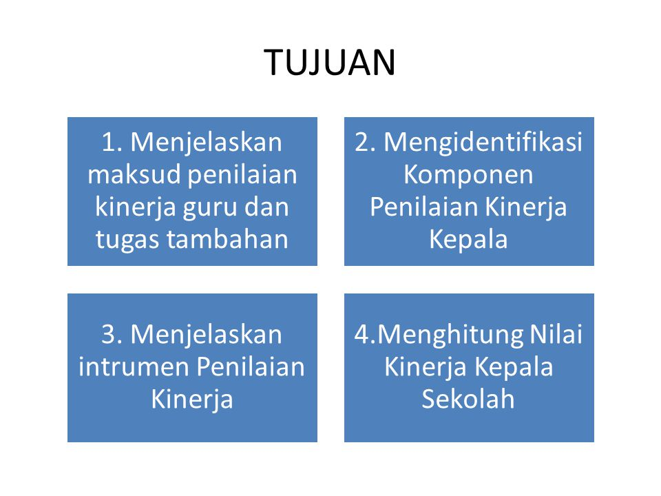 TUJUAN 1. Menjelaskan maksud penilaian kinerja guru dan tugas tambahan