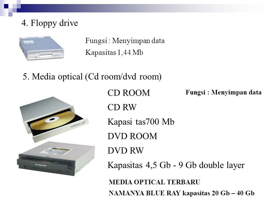 5. Media optical (Cd room/dvd room)