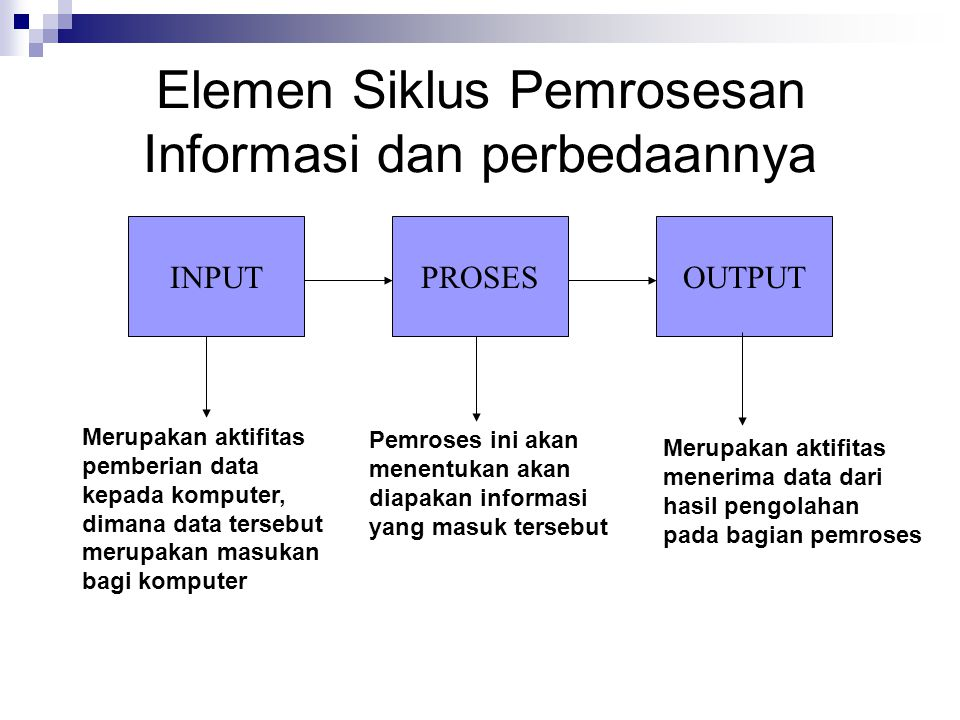 Elemen Siklus Pemrosesan Informasi dan perbedaannya