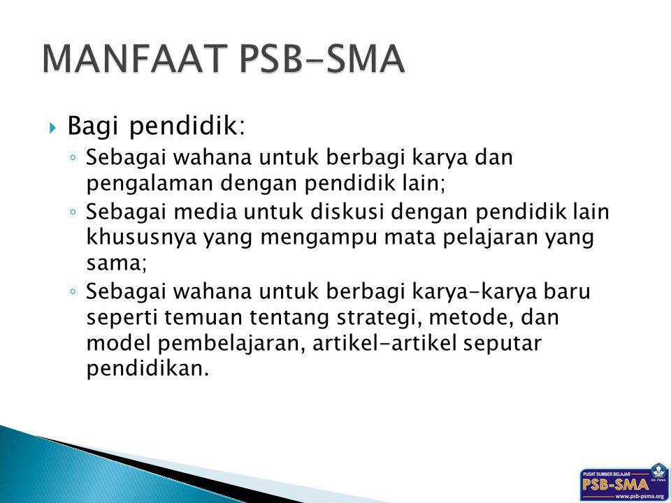 MANFAAT PSB-SMA Bagi pendidik: