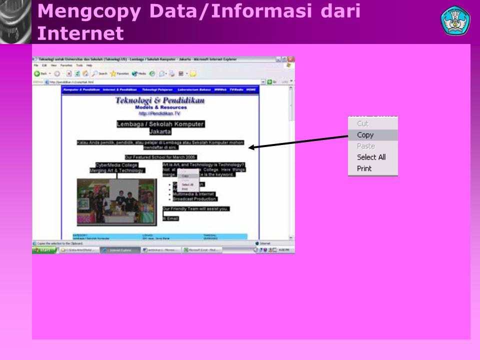 Mengcopy Data/Informasi dari Internet
