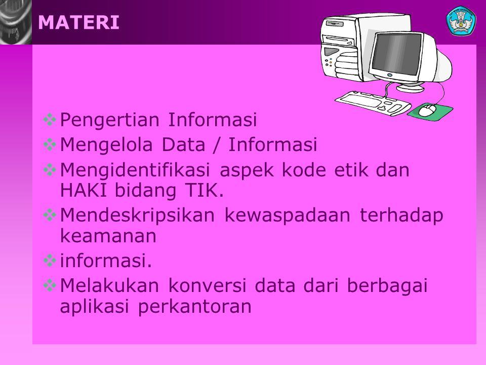 MATERI Pengertian Informasi. Mengelola Data / Informasi. Mengidentifikasi aspek kode etik dan HAKI bidang TIK.