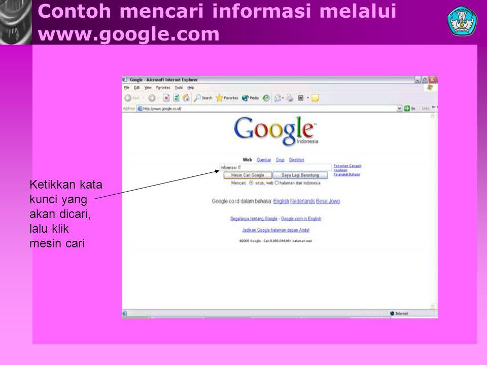 Contoh mencari informasi melalui www.google.com