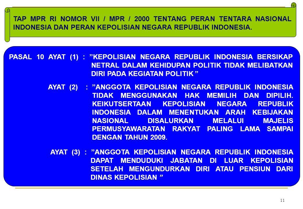 TAP MPR RI NOMOR VII / MPR / 2000 TENTANG PERAN TENTARA NASIONAL INDONESIA DAN PERAN KEPOLISIAN NEGARA REPUBLIK INDONESIA.