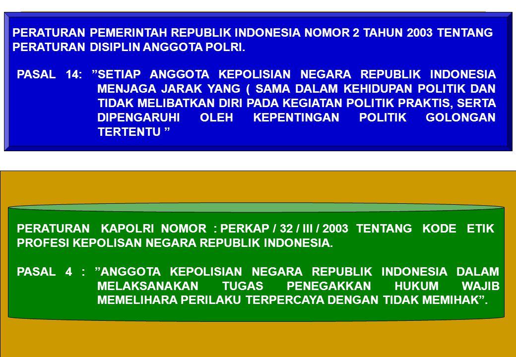 PERATURAN PEMERINTAH REPUBLIK INDONESIA NOMOR 2 TAHUN 2003 TENTANG PERATURAN DISIPLIN ANGGOTA POLRI.