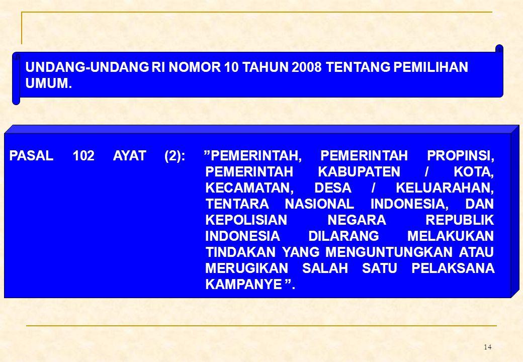 UNDANG-UNDANG RI NOMOR 10 TAHUN 2008 TENTANG PEMILIHAN UMUM.