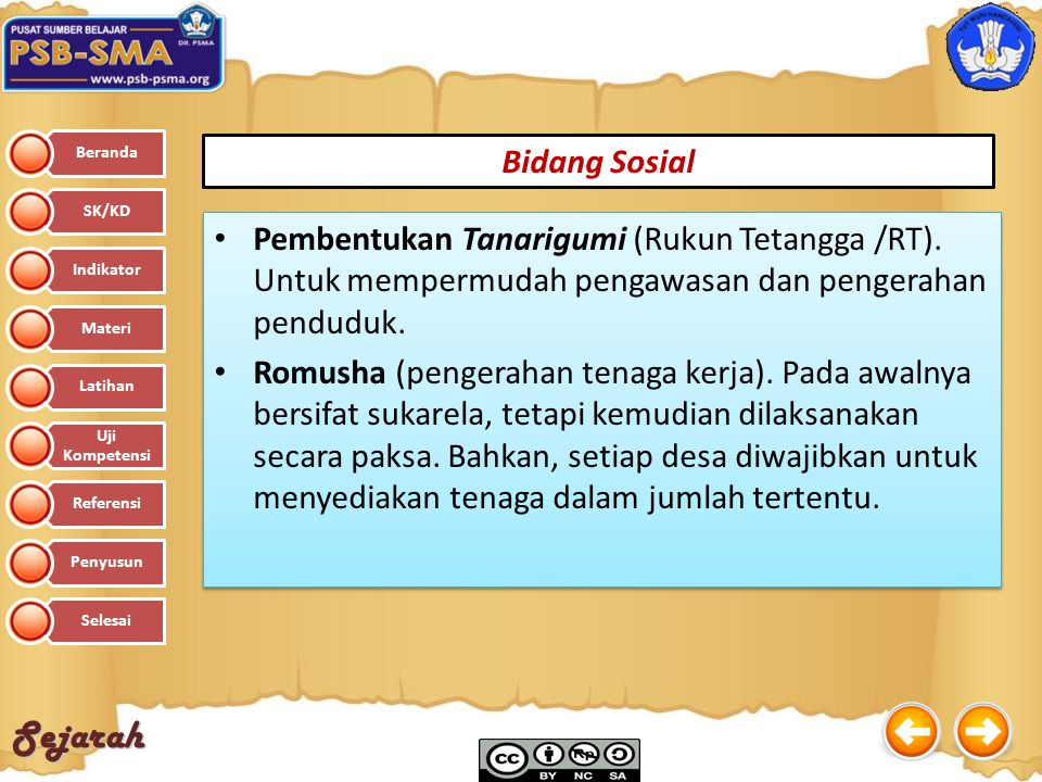 Bidang Sosial Pembentukan Tanarigumi (Rukun Tetangga /RT). Untuk mempermudah pengawasan dan pengerahan penduduk.