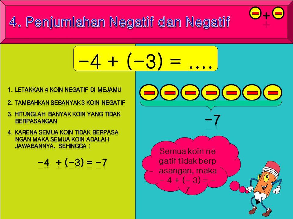-4 + (-3) = .... + 4. Penjumlahan Negatif dan Negatif -7