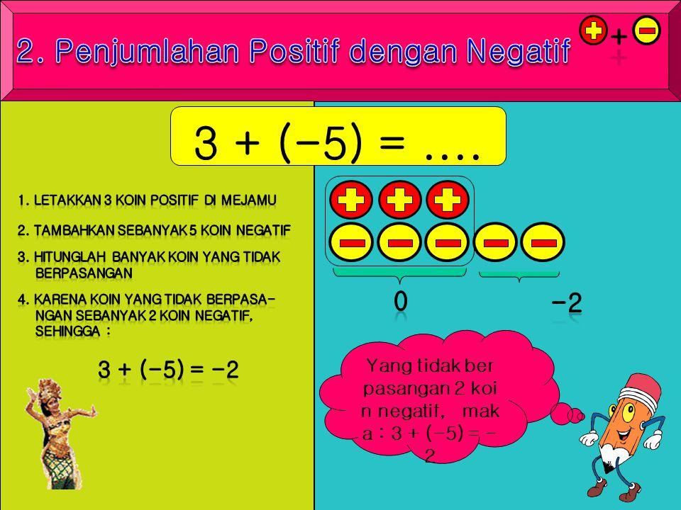 2. Penjumlahan Positif dengan Negatif