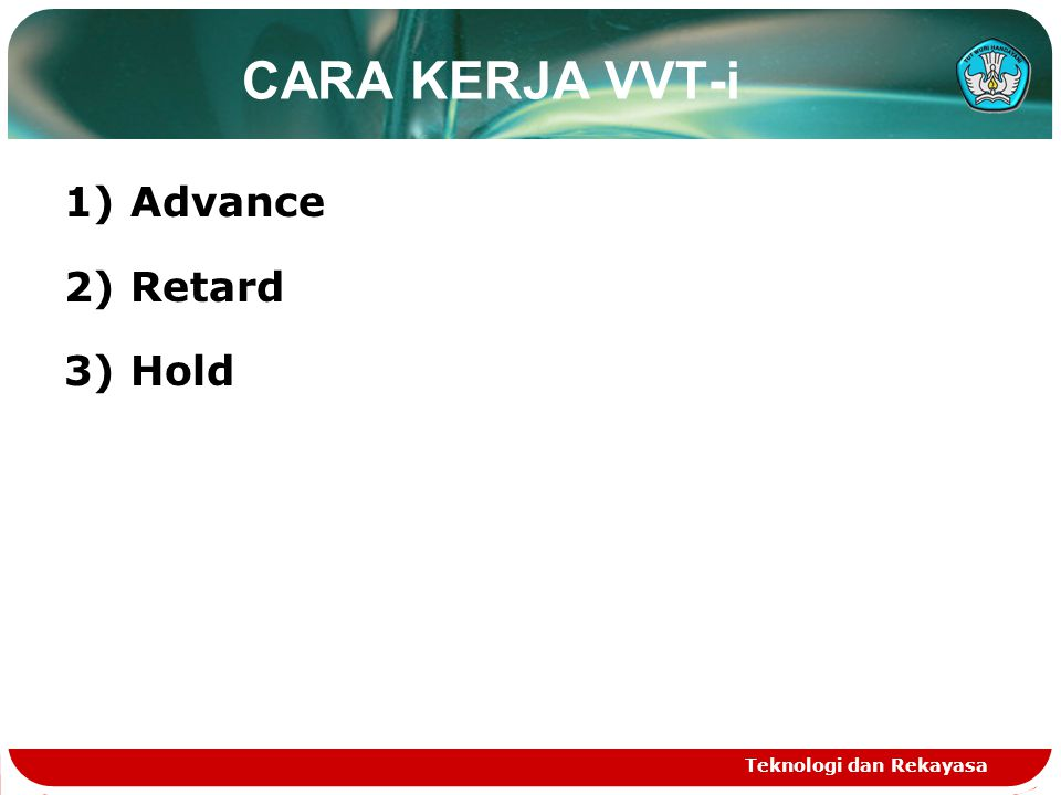 CARA KERJA VVT-i 1) Advance 2) Retard 3) Hold Teknologi dan Rekayasa