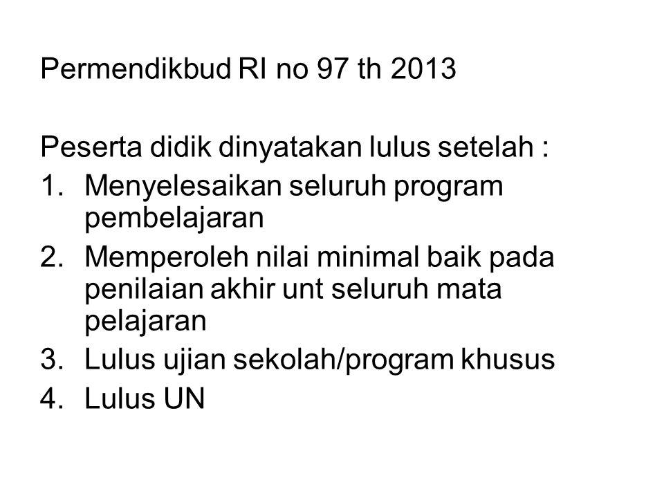 Permendikbud RI no 97 th 2013 Peserta didik dinyatakan lulus setelah : Menyelesaikan seluruh program pembelajaran.