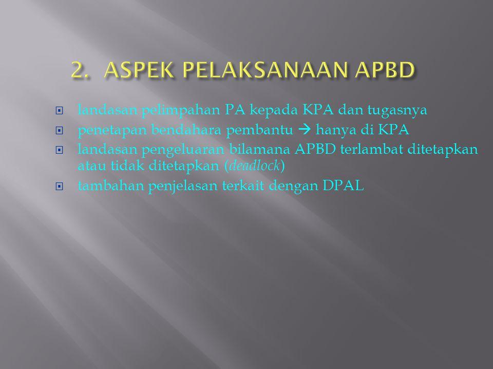 2. ASPEK PELAKSANAAN APBD