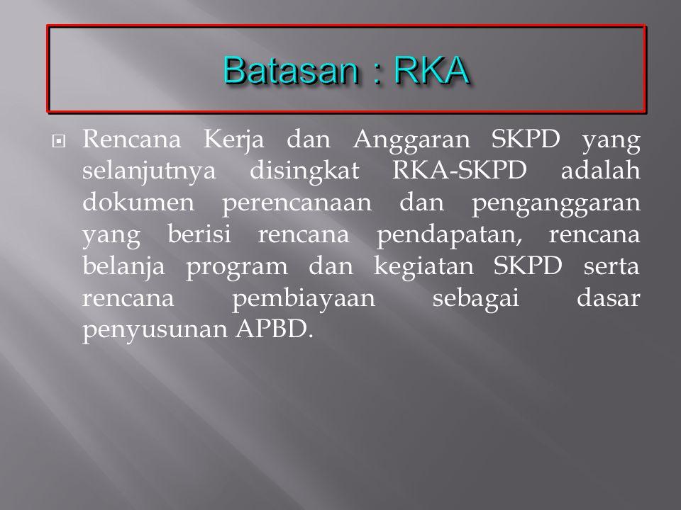 Batasan : RKA