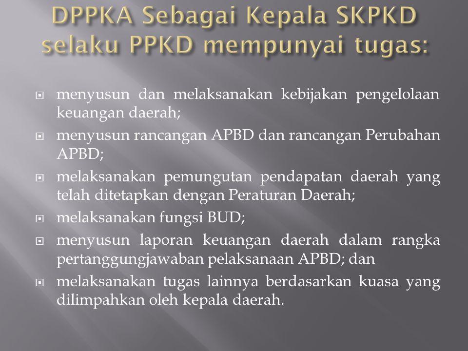 DPPKA Sebagai Kepala SKPKD selaku PPKD mempunyai tugas: