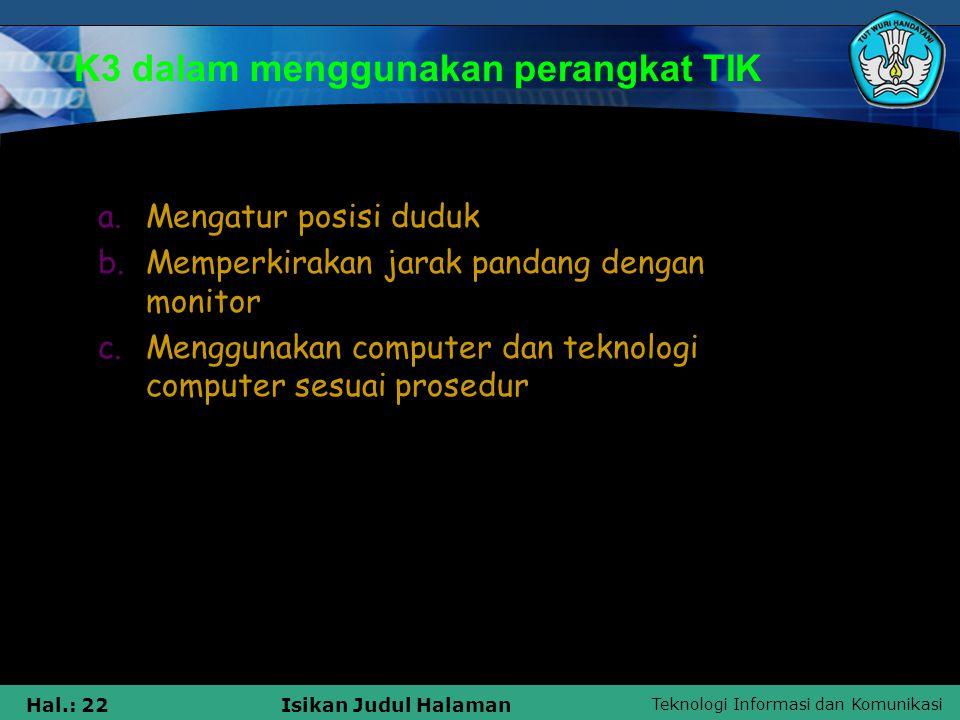 K3 dalam menggunakan perangkat TIK