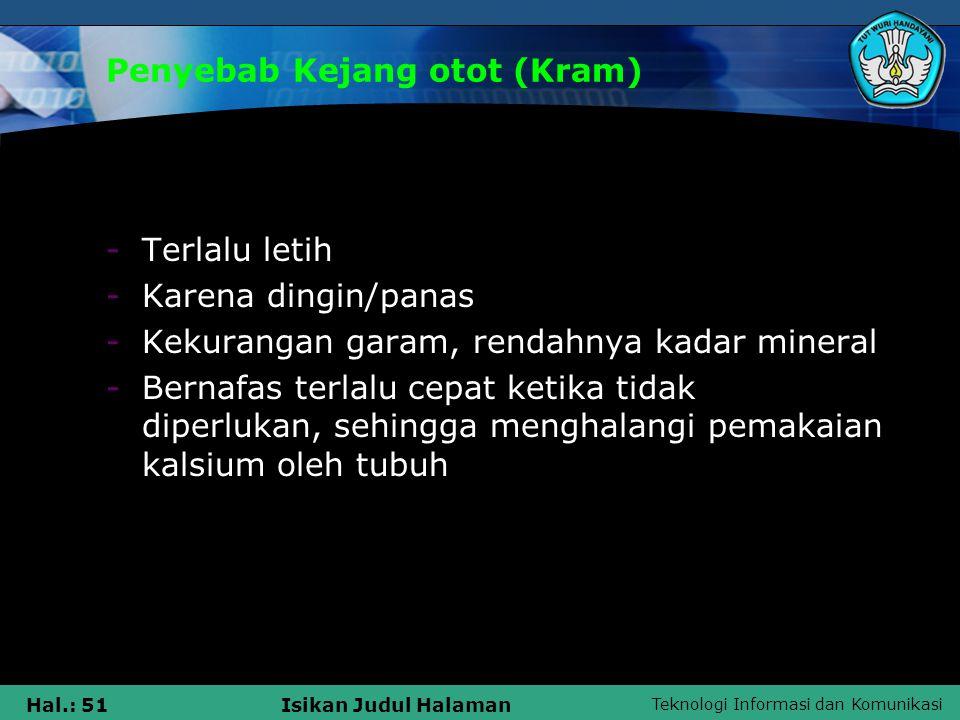 Penyebab Kejang otot (Kram)