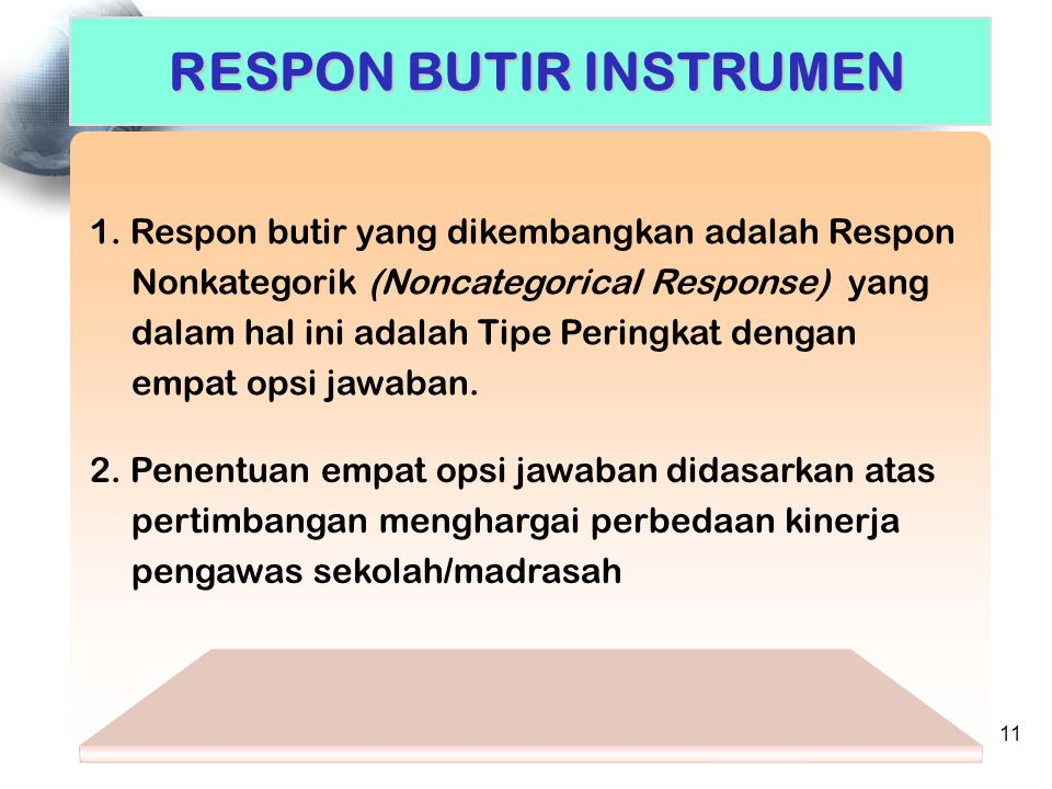 RESPON BUTIR INSTRUMEN