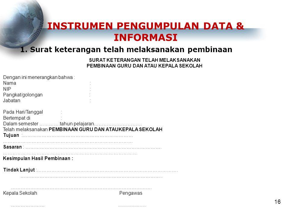 INSTRUMEN PENGUMPULAN DATA & INFORMASI
