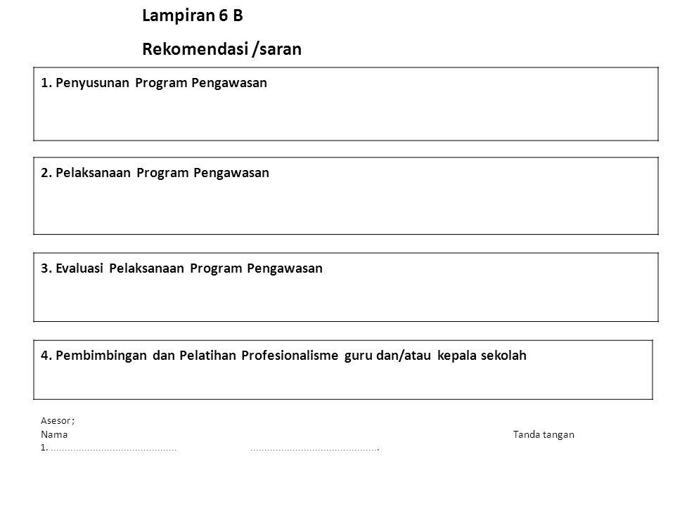 Lampiran 6 B Rekomendasi /saran 1. Penyusunan Program Pengawasan